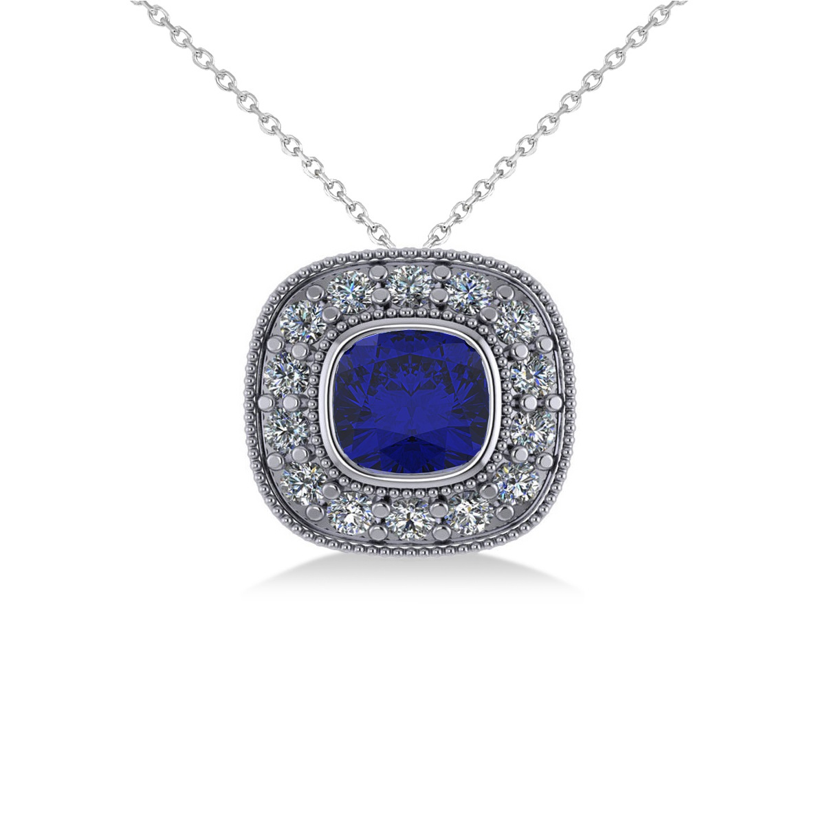 Blue Sapphire & Diamond Halo Cushion Pendant Necklace 14k White Gold (1.62ct)