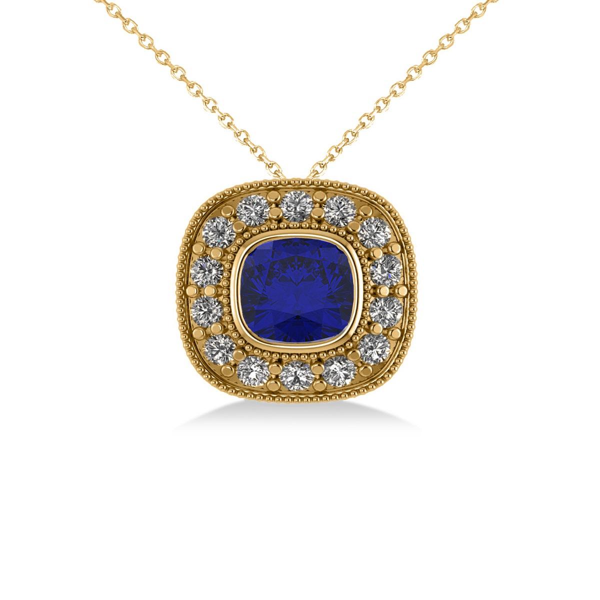 Blue Sapphire & Diamond Halo Cushion Pendant Necklace 14k Yellow Gold (1.62ct)