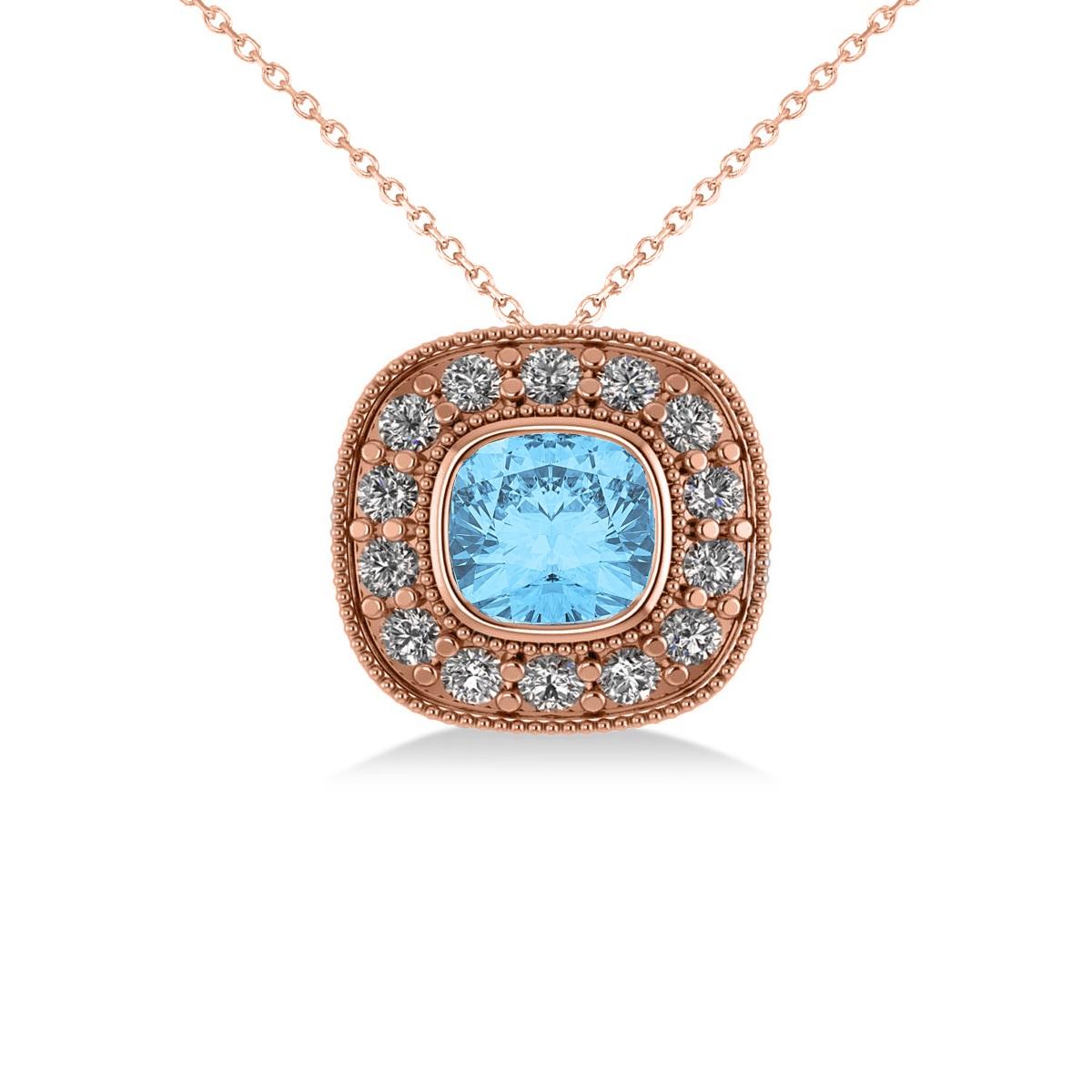 Blue Topaz & Diamond Halo Cushion Pendant Necklace 14k Rose Gold (1.67ct)