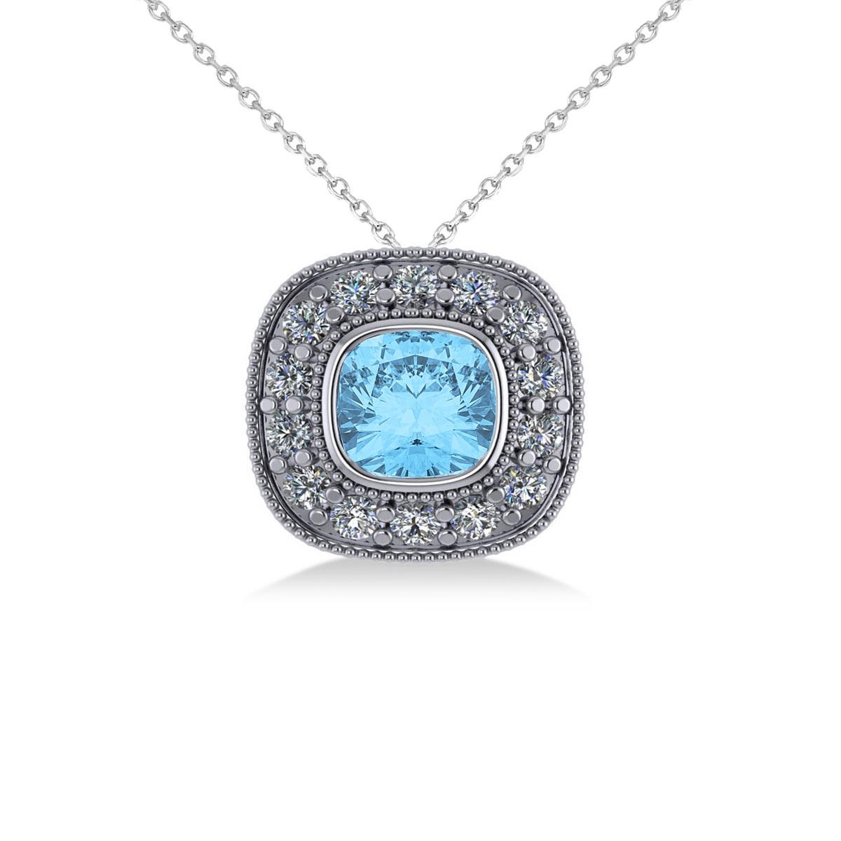 Blue Topaz & Diamond Halo Cushion Pendant Necklace 14k White Gold (1.67ct)