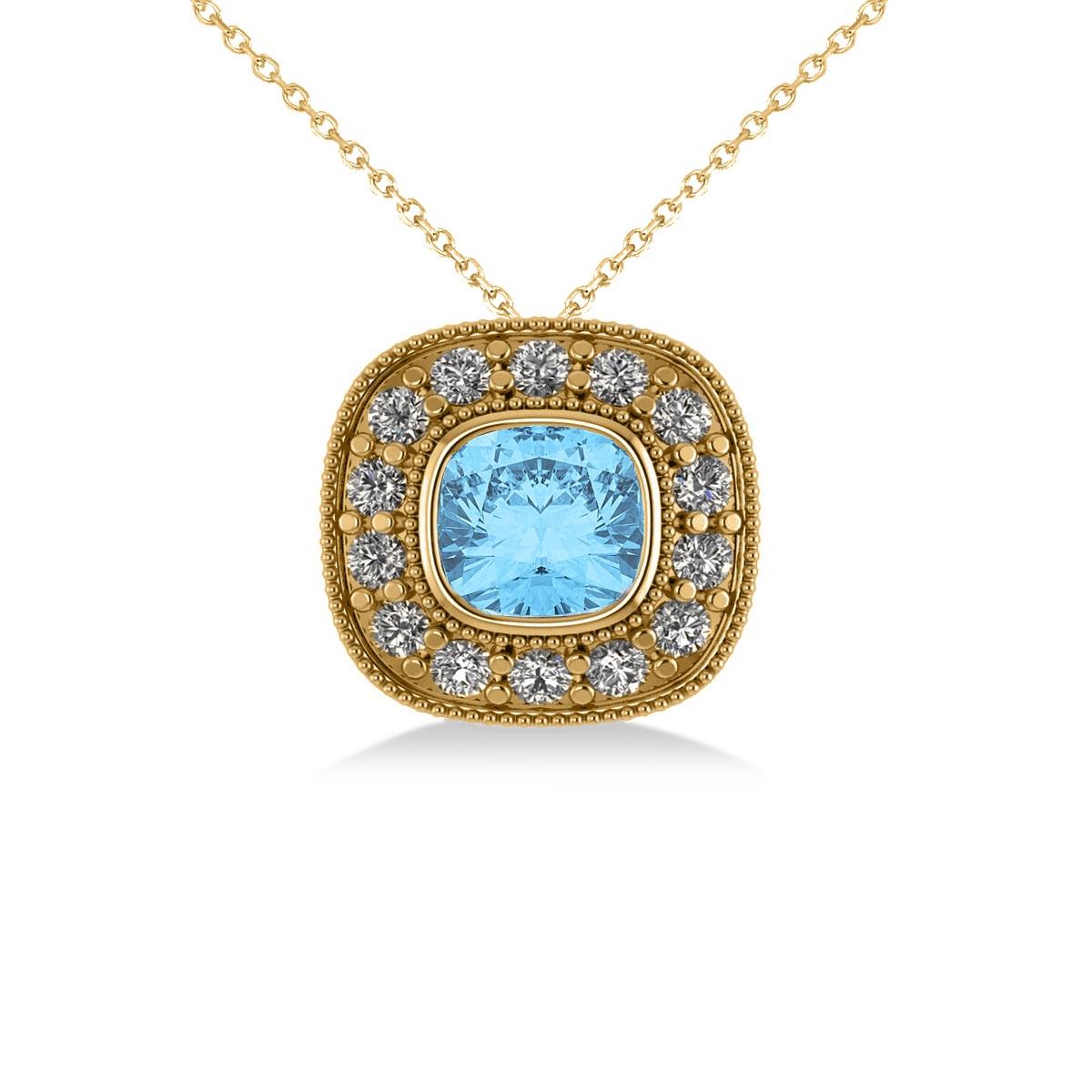 Blue Topaz & Diamond Halo Cushion Pendant Necklace 14k Yellow Gold (1.67ct)