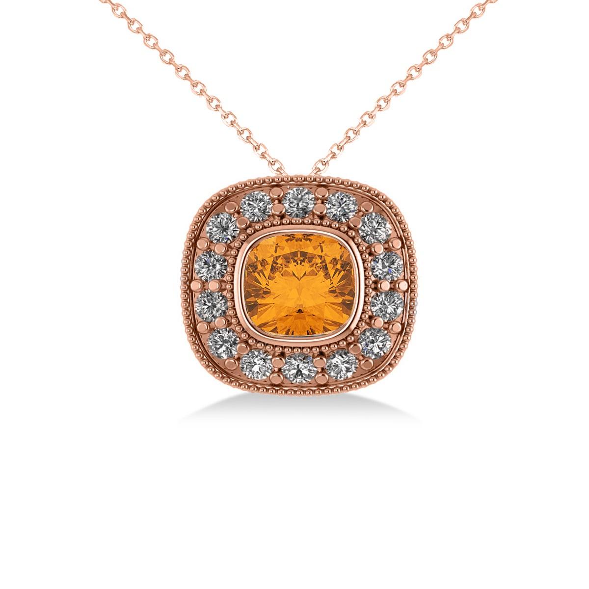 Citrine & Diamond Halo Cushion Pendant Necklace 14k Rose Gold (1.27ct)