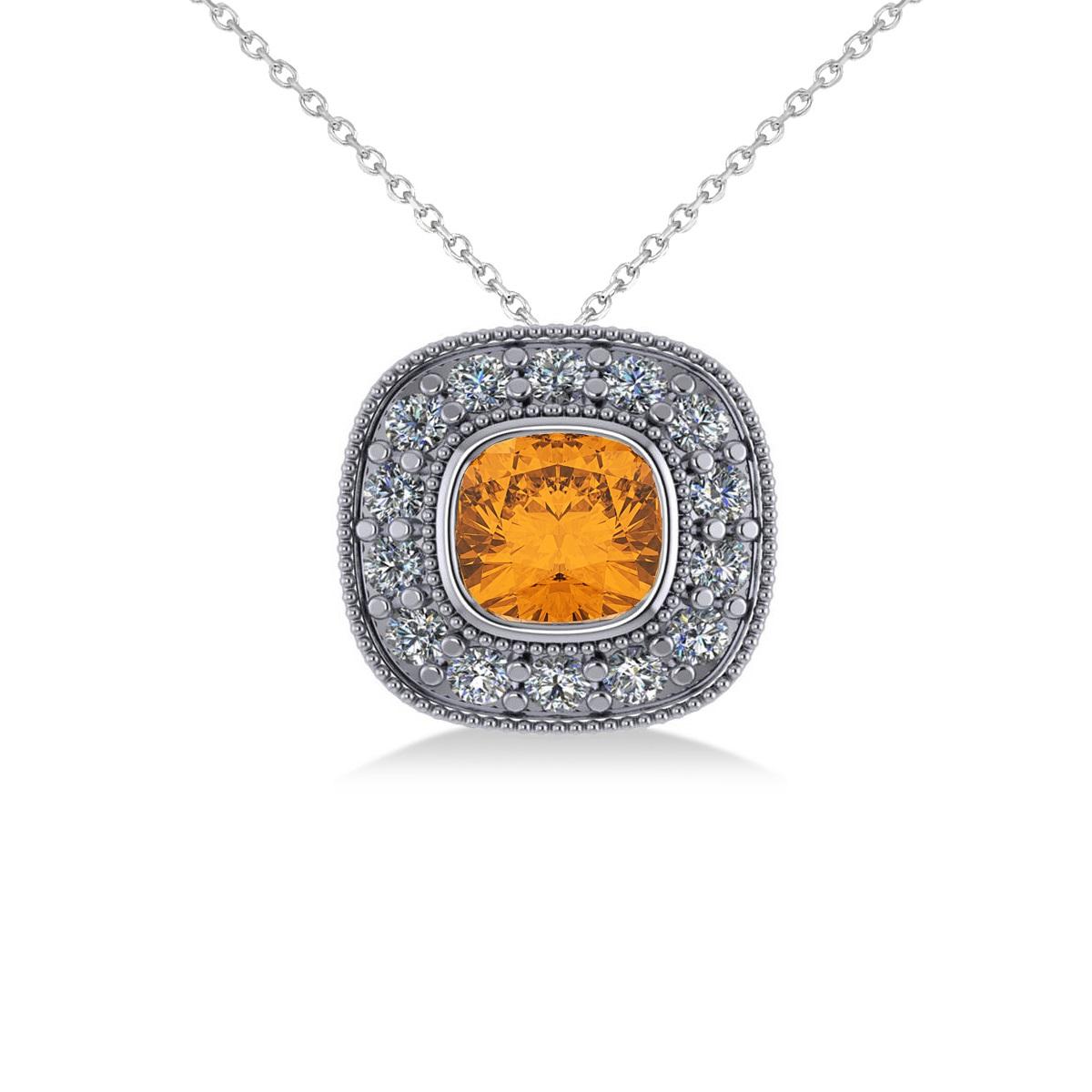 Citrine & Diamond Halo Cushion Pendant Necklace 14k White Gold (1.27ct)