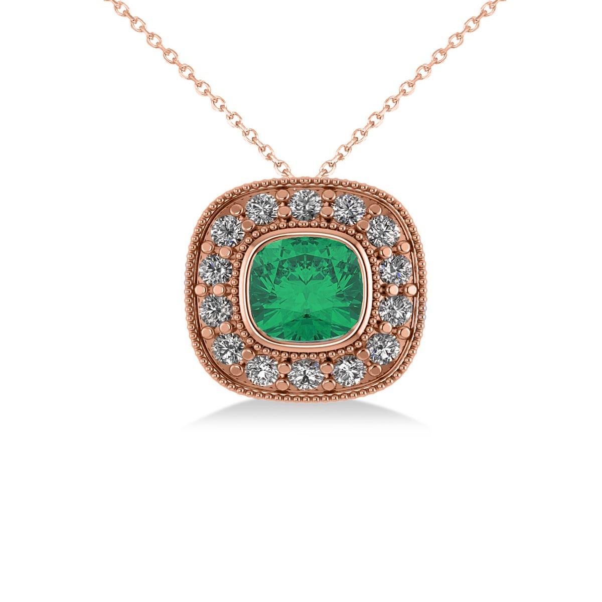 Emerald & Diamond Halo Cushion Pendant Necklace 14k Rose Gold (1.22ct)