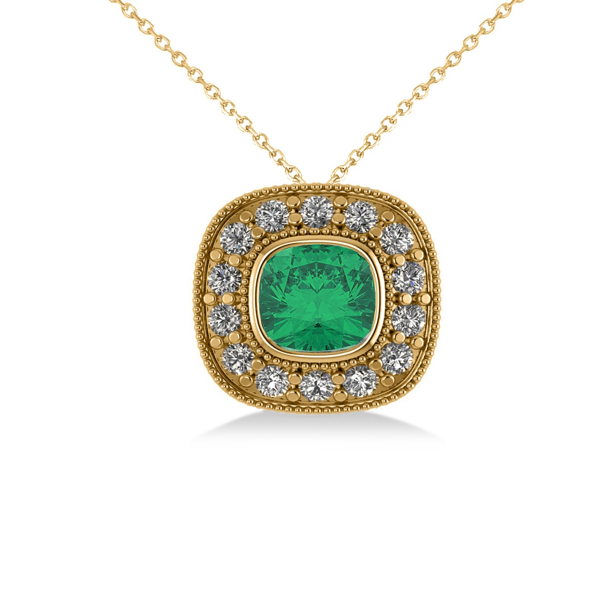 Emerald & Diamond Halo Cushion Pendant Necklace 14k Yellow Gold (1.22ct)