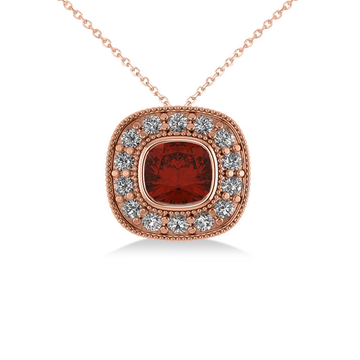 Garnet & Diamond Halo Cushion Pendant Necklace 14k Rose Gold (1.62ct)