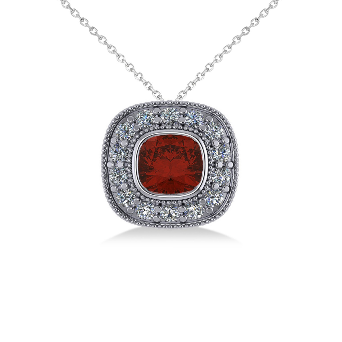 Garnet & Diamond Halo Cushion Pendant Necklace 14k White Gold (1.62ct)