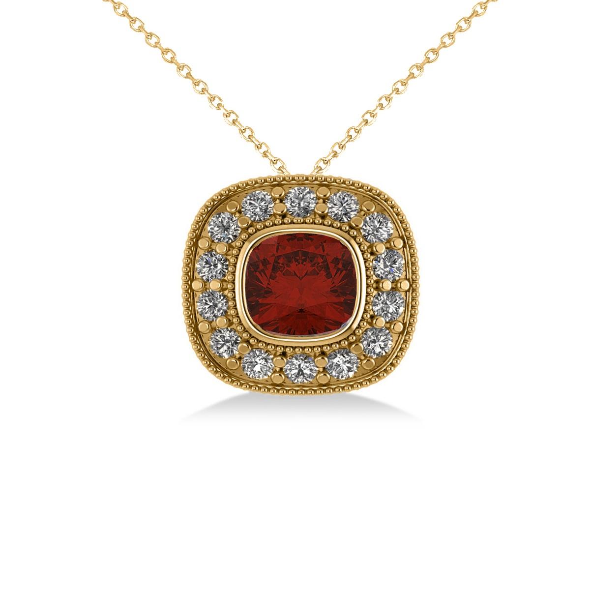 Garnet & Diamond Halo Cushion Pendant Necklace 14k Yellow Gold (1.62ct)