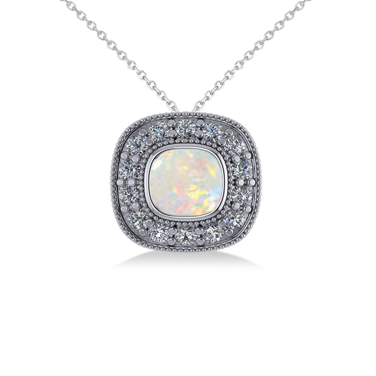 Opal & Diamond Halo Cushion Pendant Necklace 14k White Gold (0.97ct)