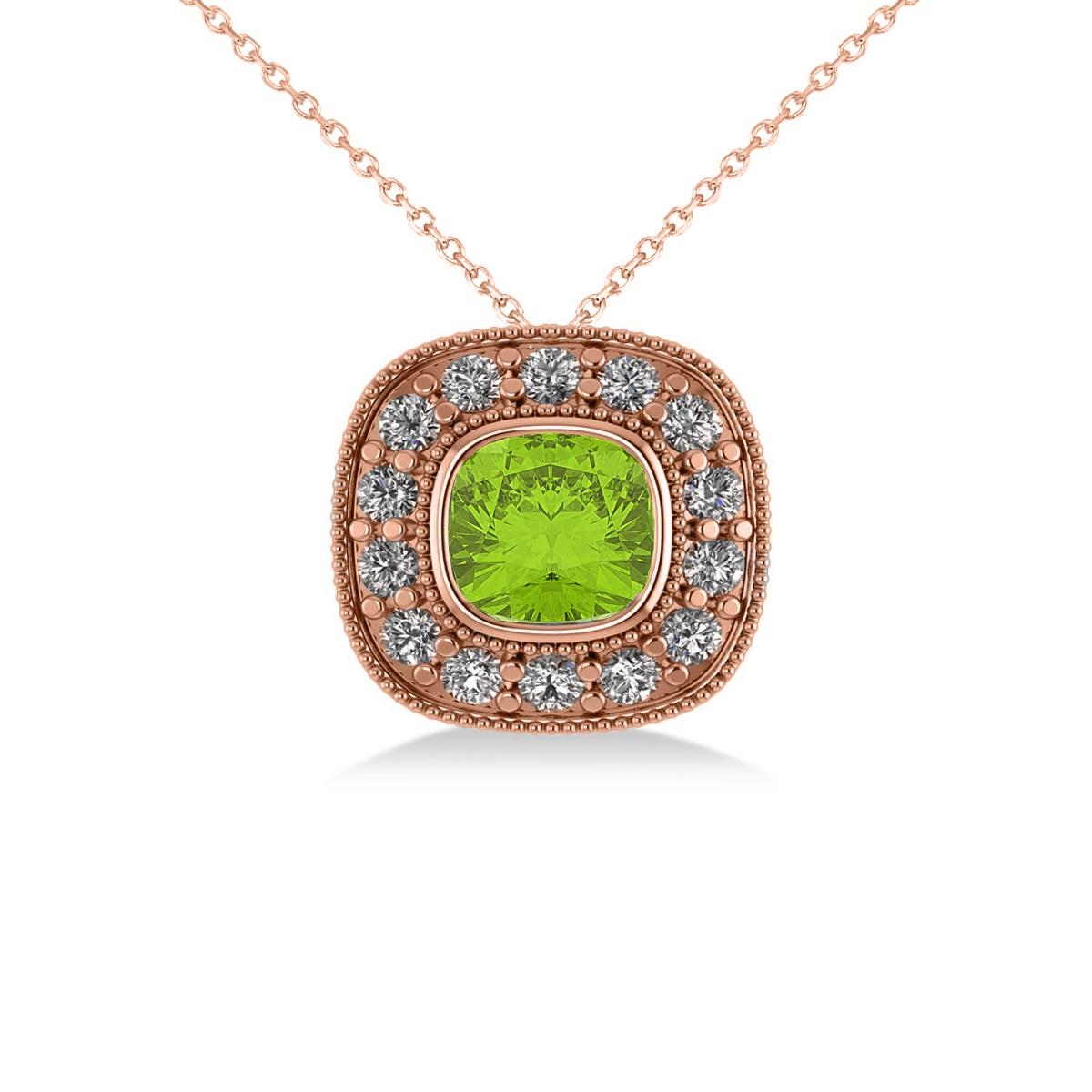 Peridot & Diamond Halo Cushion Pendant Necklace 14k Rose Gold (1.52ct)