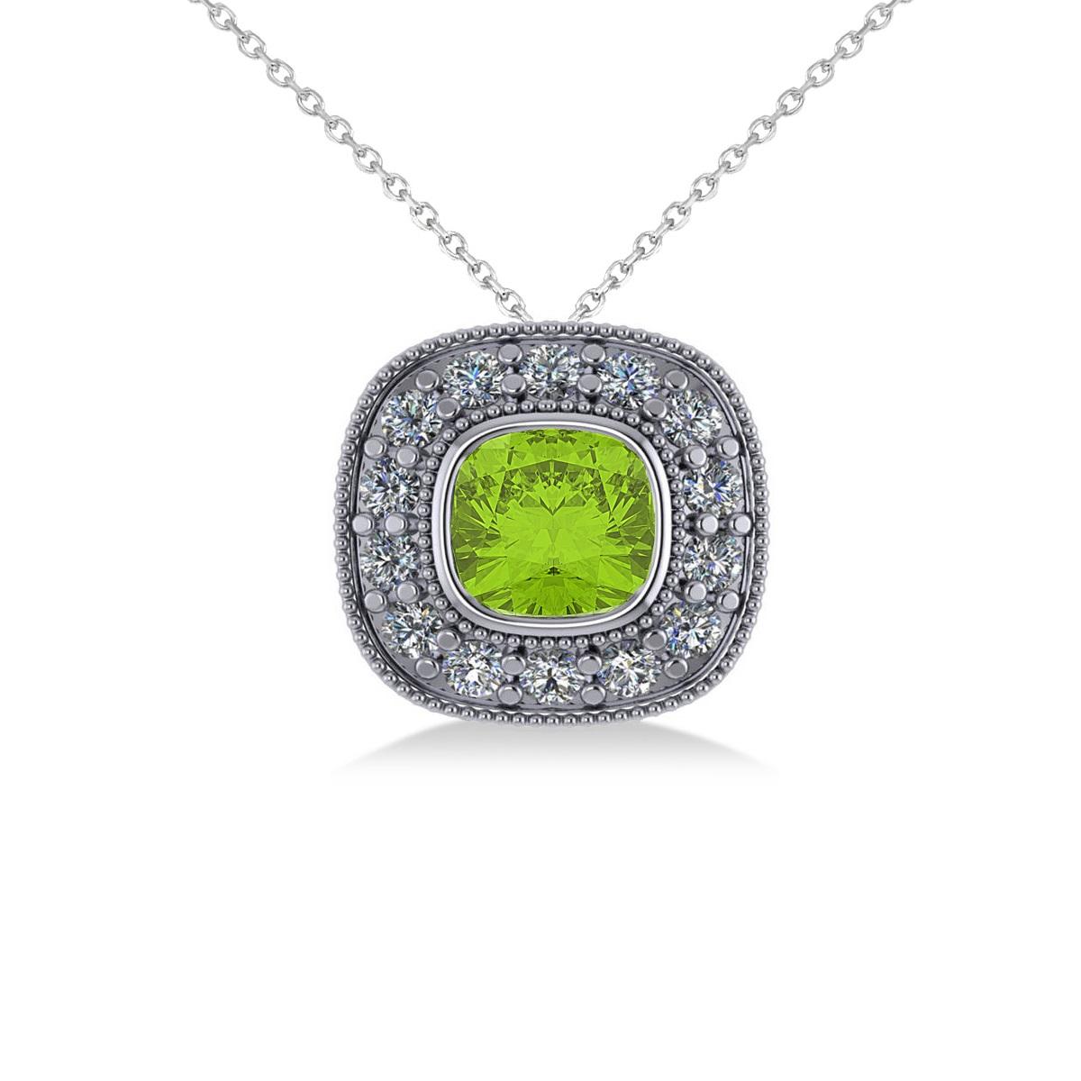 Peridot & Diamond Halo Cushion Pendant Necklace 14k White Gold (1.52ct)