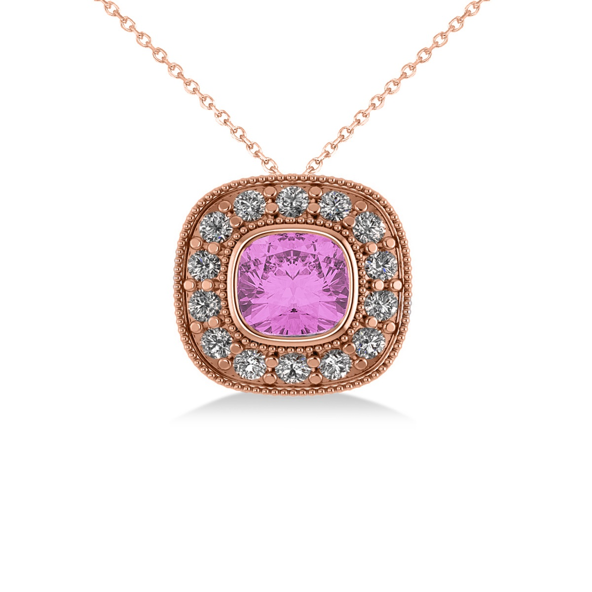 Pink Sapphire & Diamond Halo Cushion Pendant Necklace 14k ...