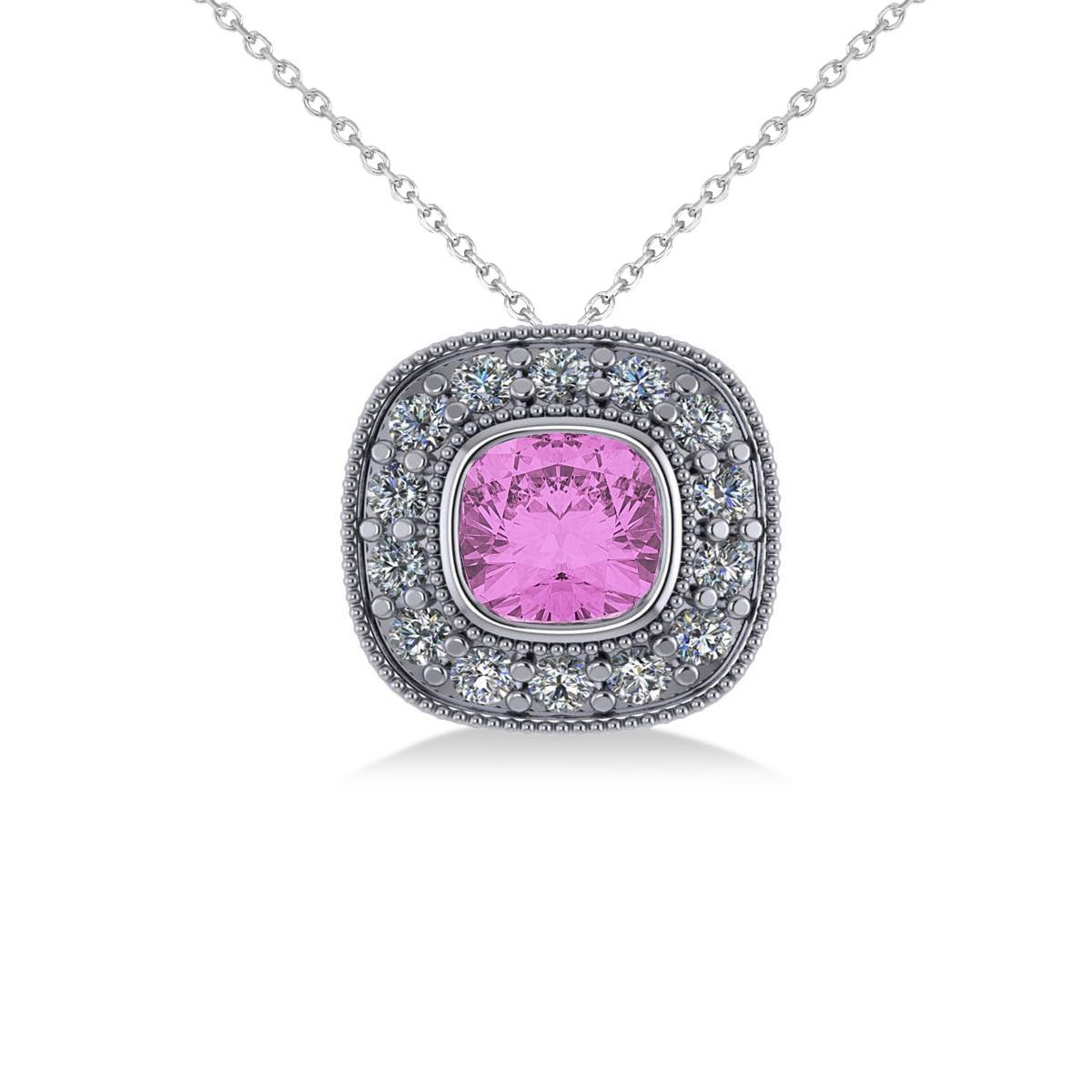 Pink Sapphire & Diamond Halo Cushion Pendant Necklace 14k White Gold (1.62ct)
