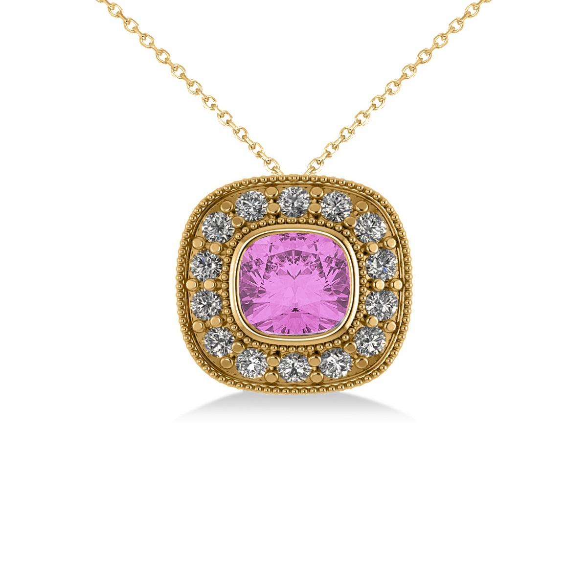 Pink Sapphire & Diamond Halo Cushion Pendant Necklace 14k Yellow Gold (1.62ct)