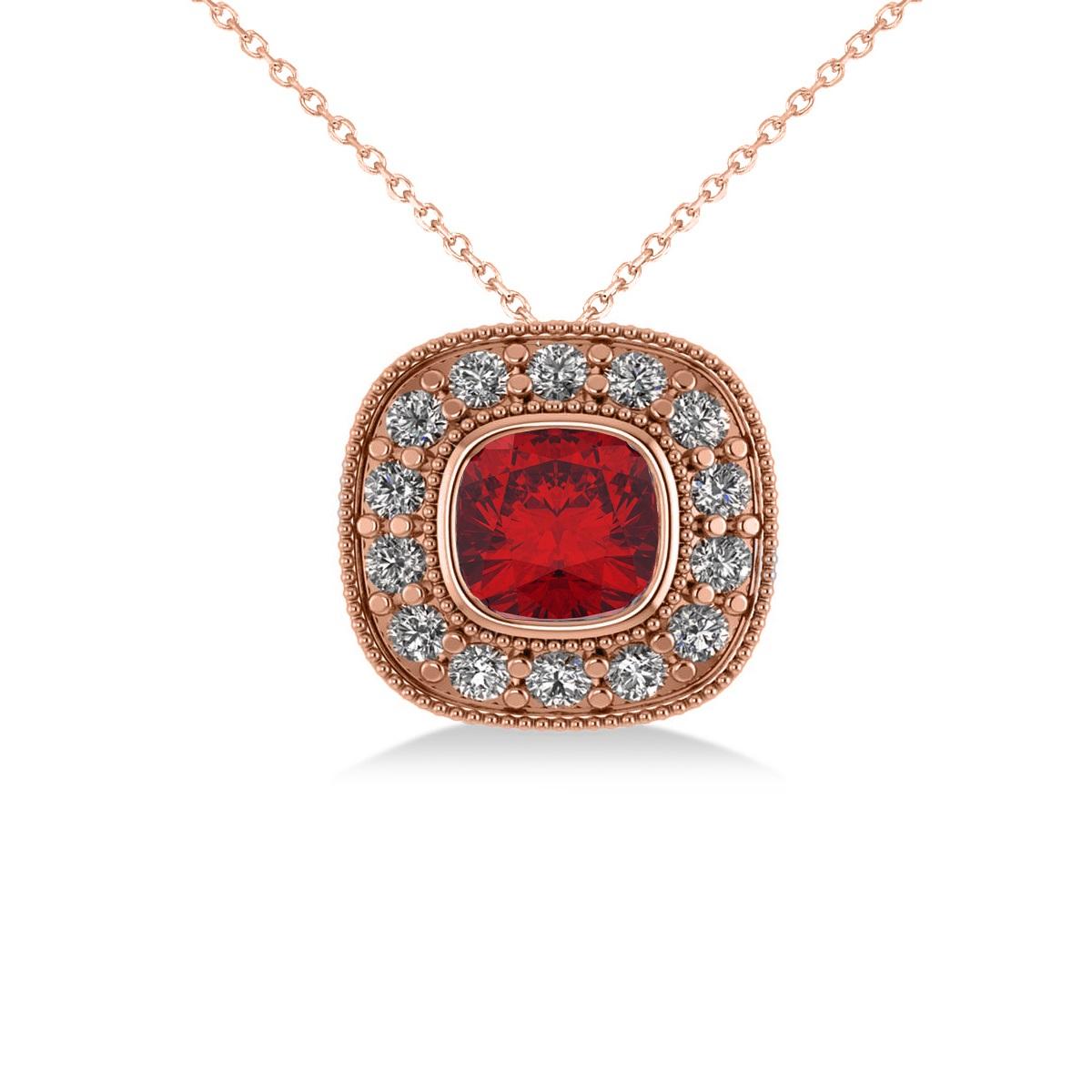 Ruby & Diamond Halo Cushion Pendant Necklace 14k Rose Gold (1.62ct)