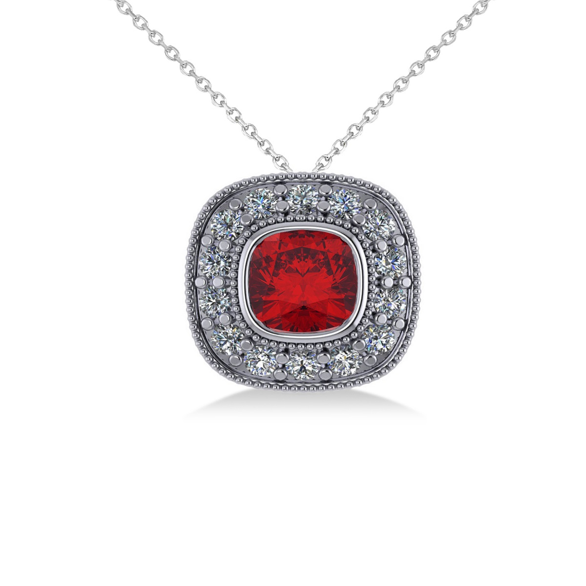 Ruby & Diamond Halo Cushion Pendant Necklace 14k White Gold (1.62ct)