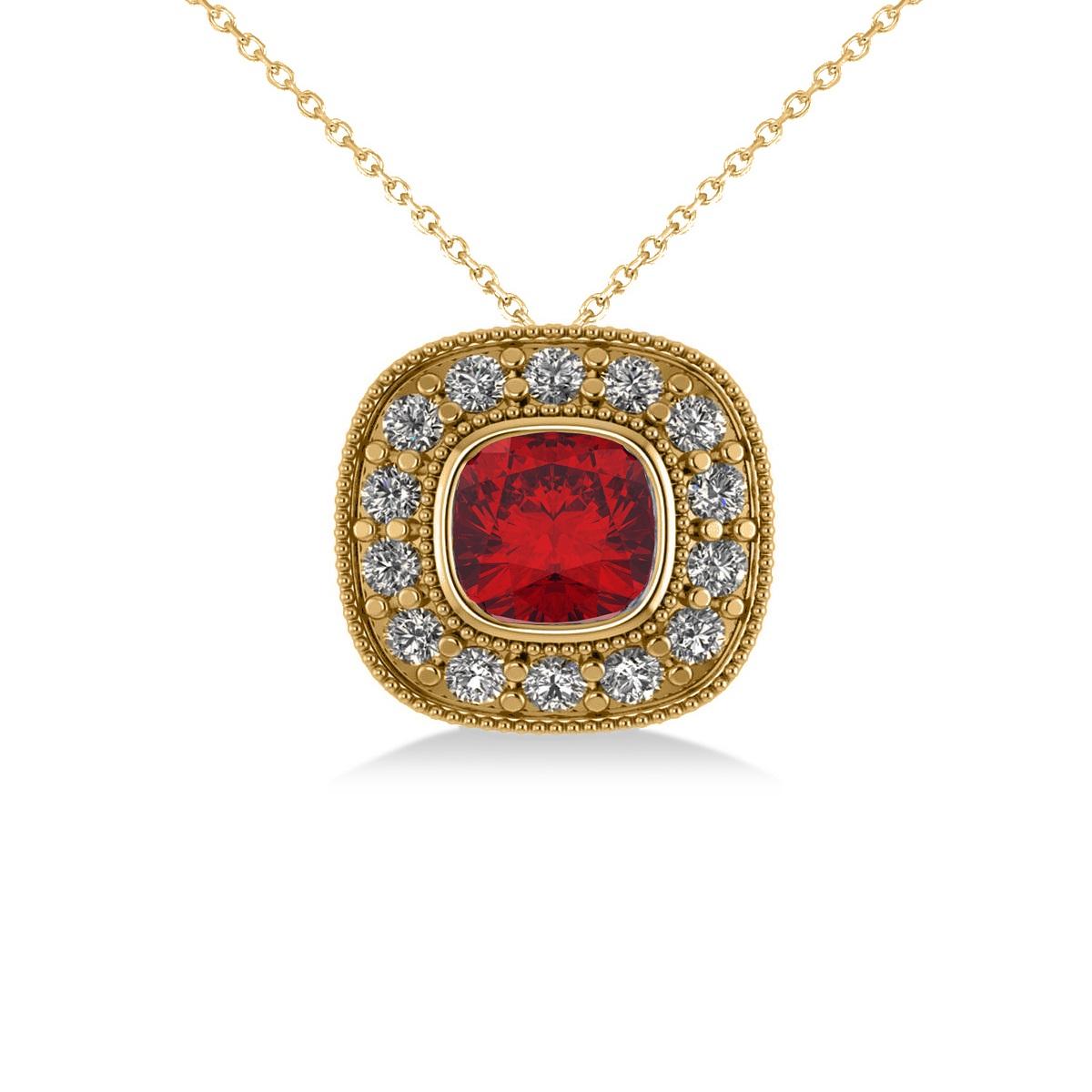 Ruby & Diamond Halo Cushion Pendant Necklace 14k Yellow Gold (1.62ct)