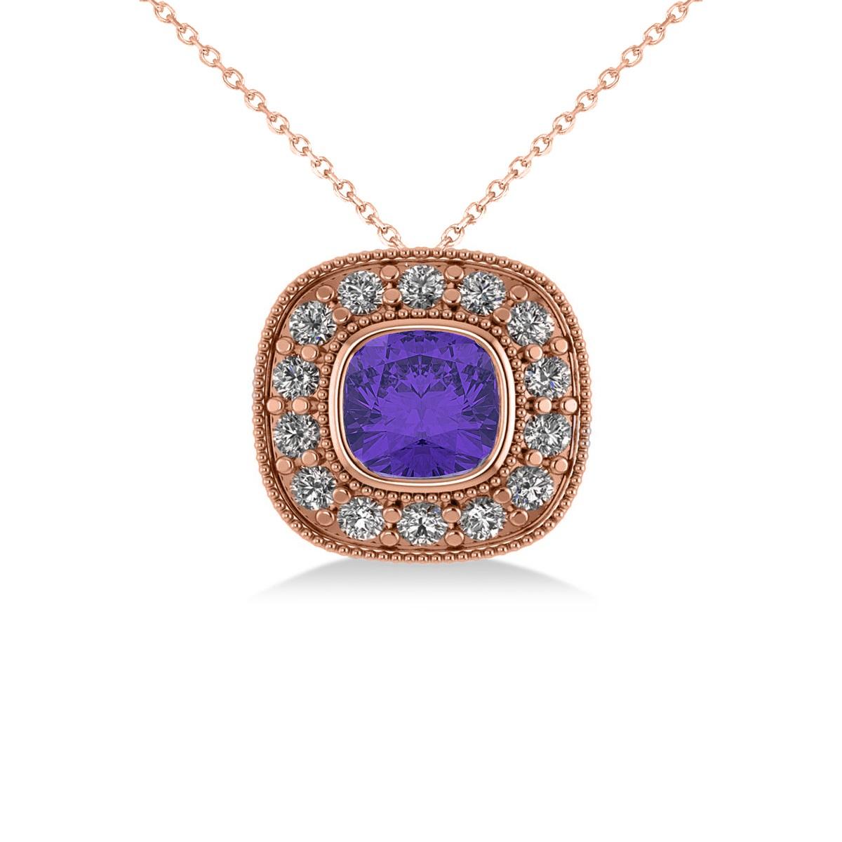 Tanzanite & Diamond Halo Cushion Pendant Necklace 14k Rose Gold (1.62ct)
