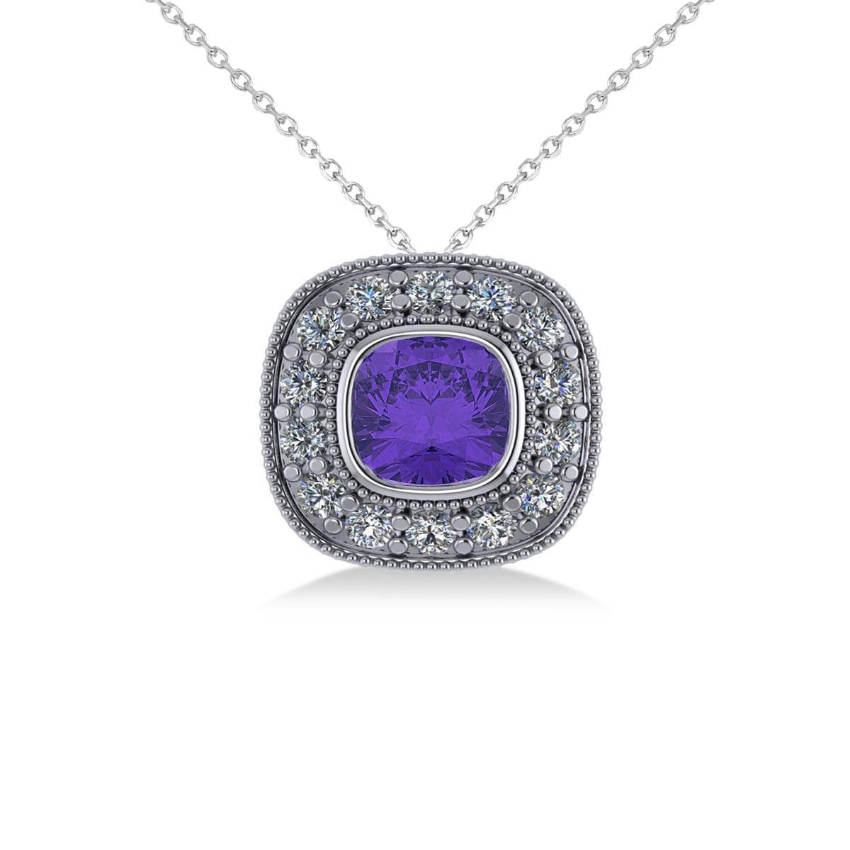 Tanzanite & Diamond Halo Cushion Pendant Necklace 14k White Gold (1.62ct)