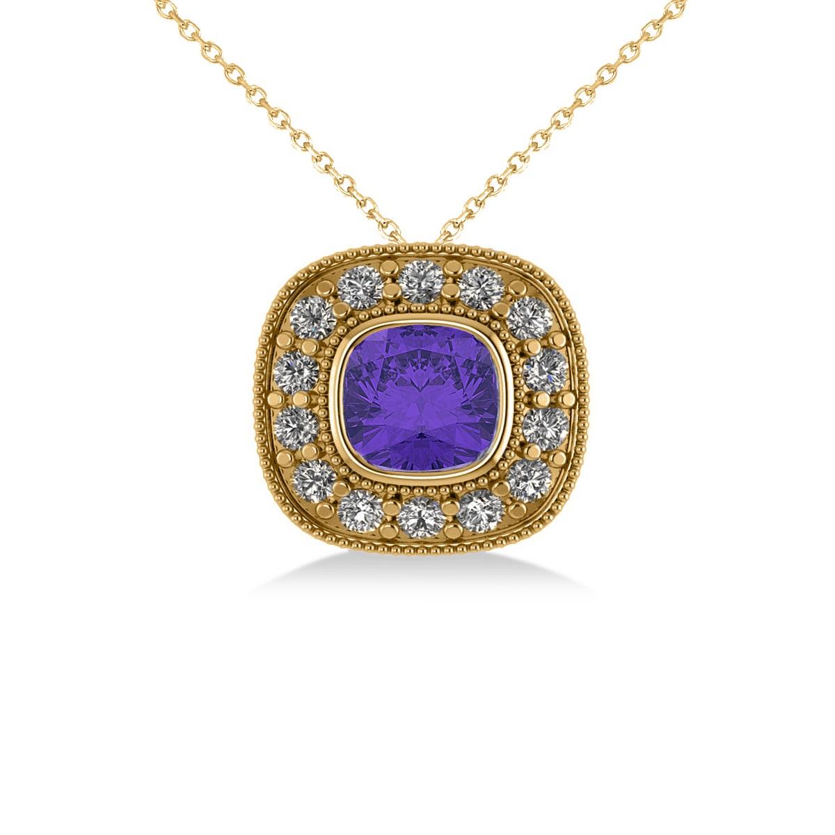Tanzanite & Diamond Halo Cushion Pendant Necklace 14k Yellow Gold (1.62ct)