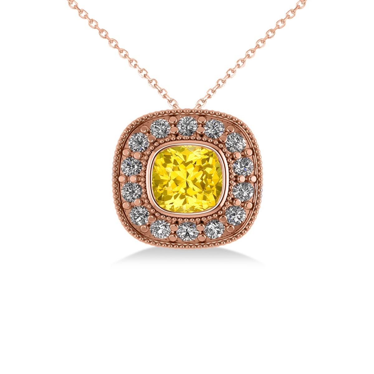 Yellow Sapphire & Diamond Halo Cushion Pendant Necklace 14k Rose Gold (1.62ct)