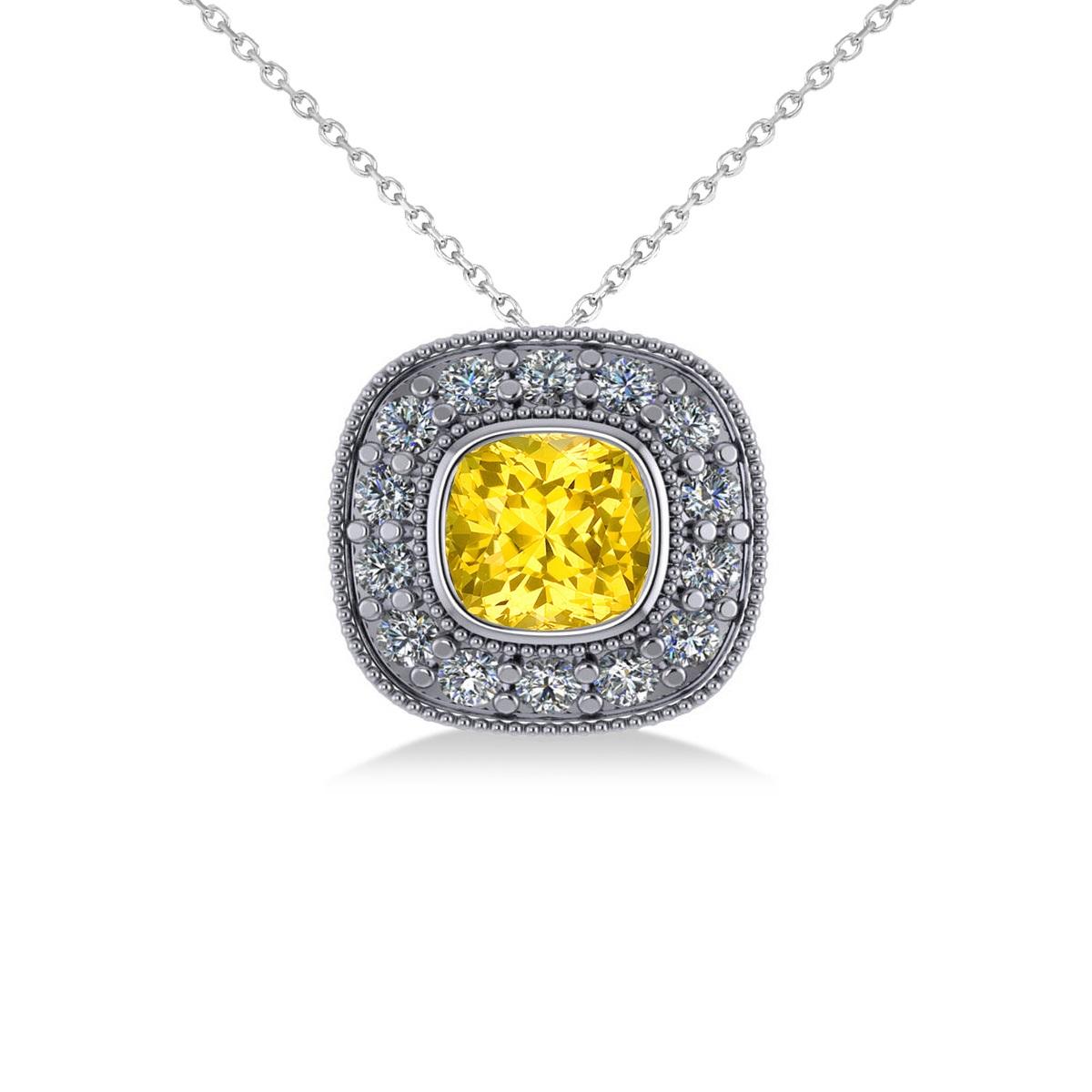 Yellow Sapphire & Diamond Halo Cushion Pendant Necklace 14k White Gold (1.62ct)
