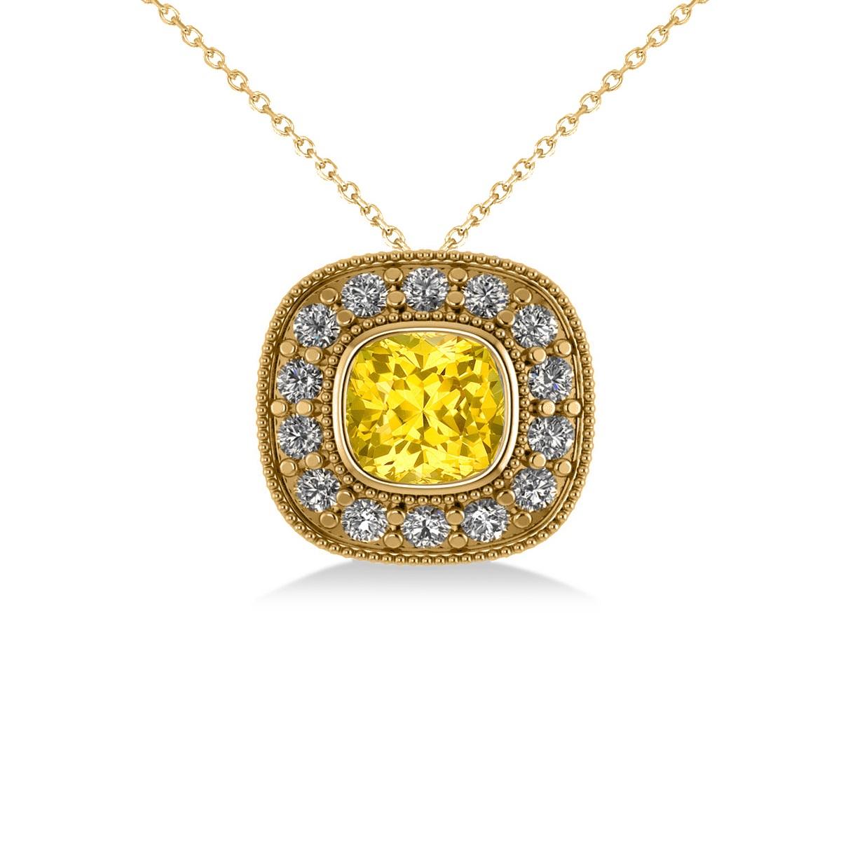 Yellow Sapphire & Diamond Halo Cushion Pendant Necklace 14k Yellow Gold (1.62ct)