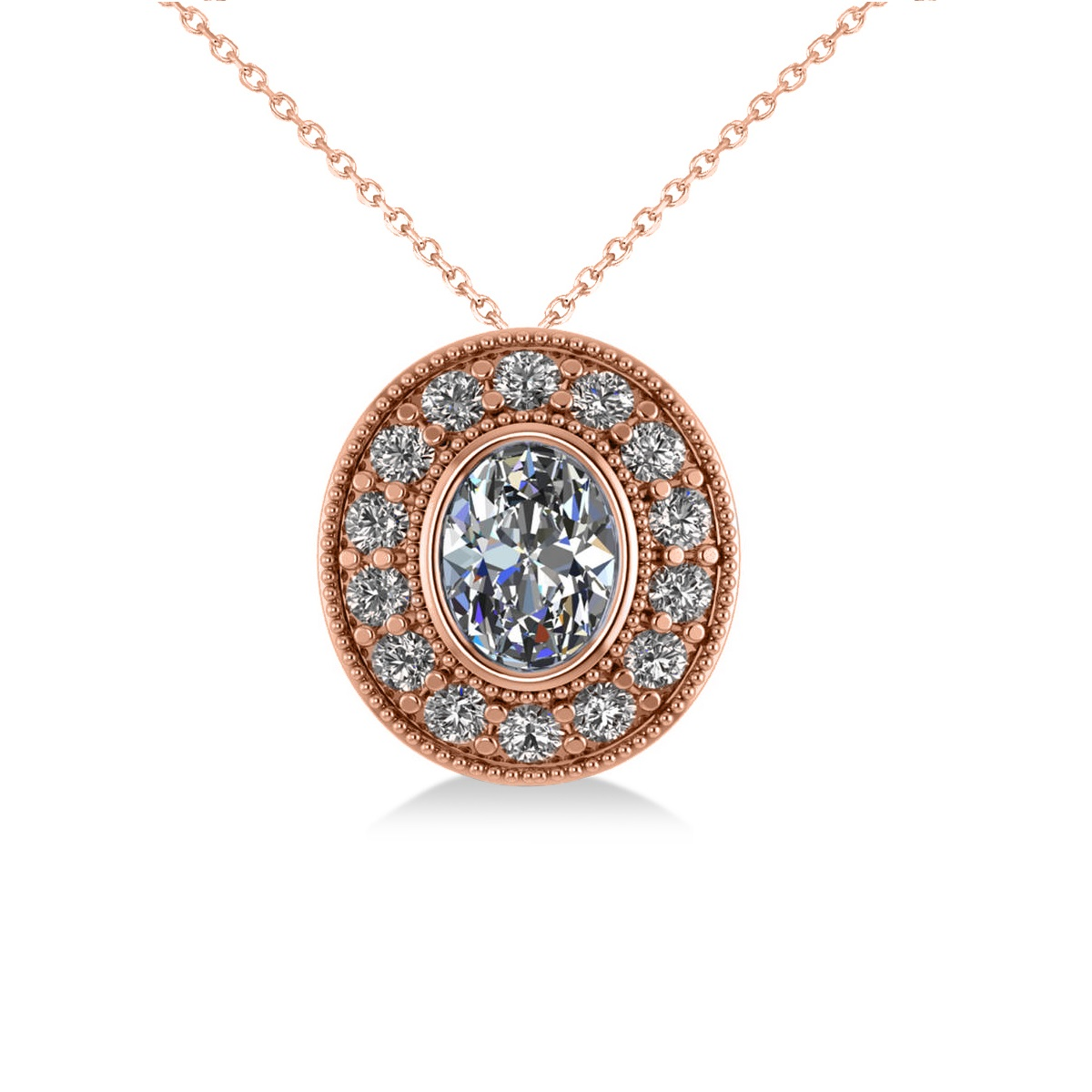 Diamond Halo Oval Pendant Necklace 14k Rose Gold (1.18ct)