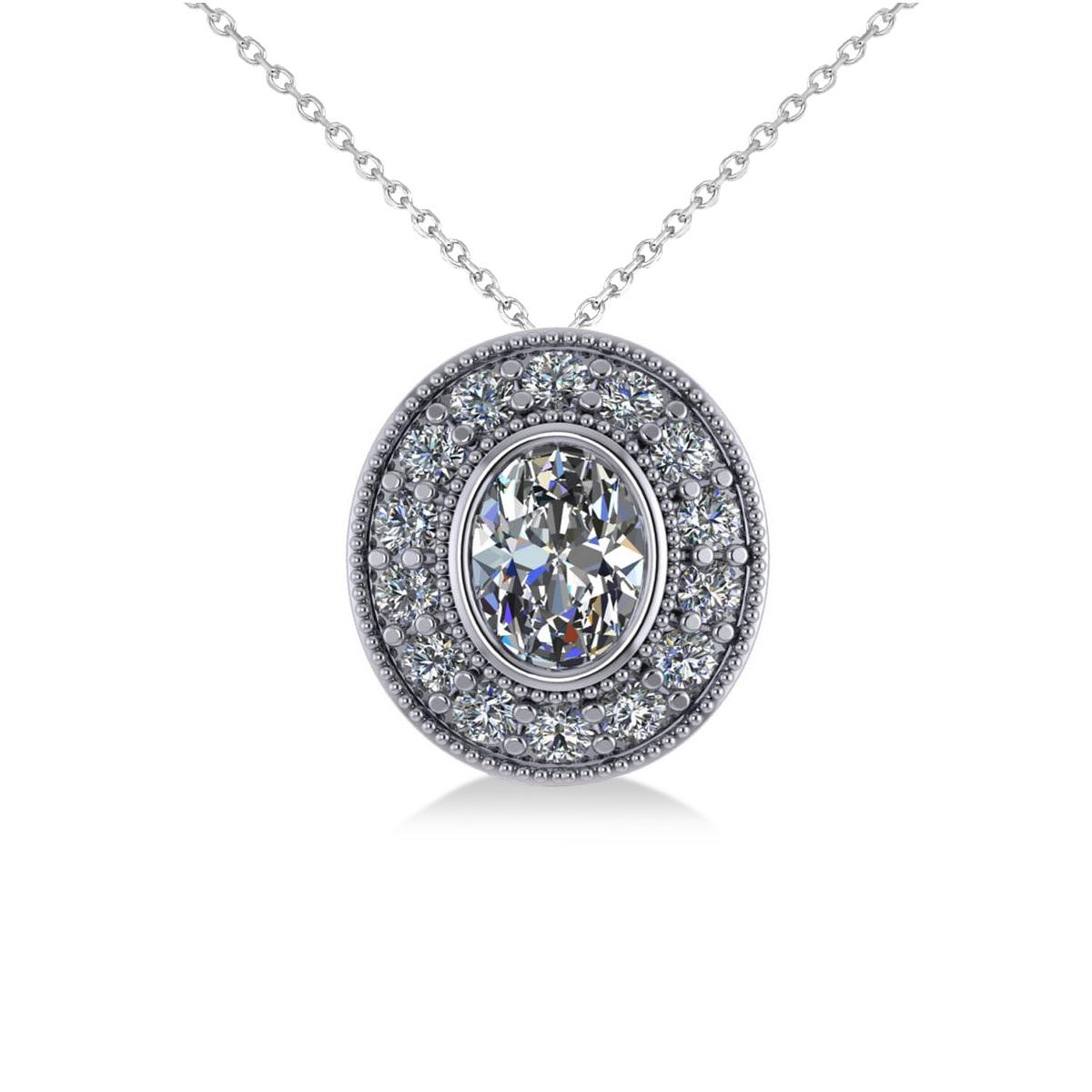 Diamond Halo Oval Pendant Necklace 14k White Gold (1.18ct)