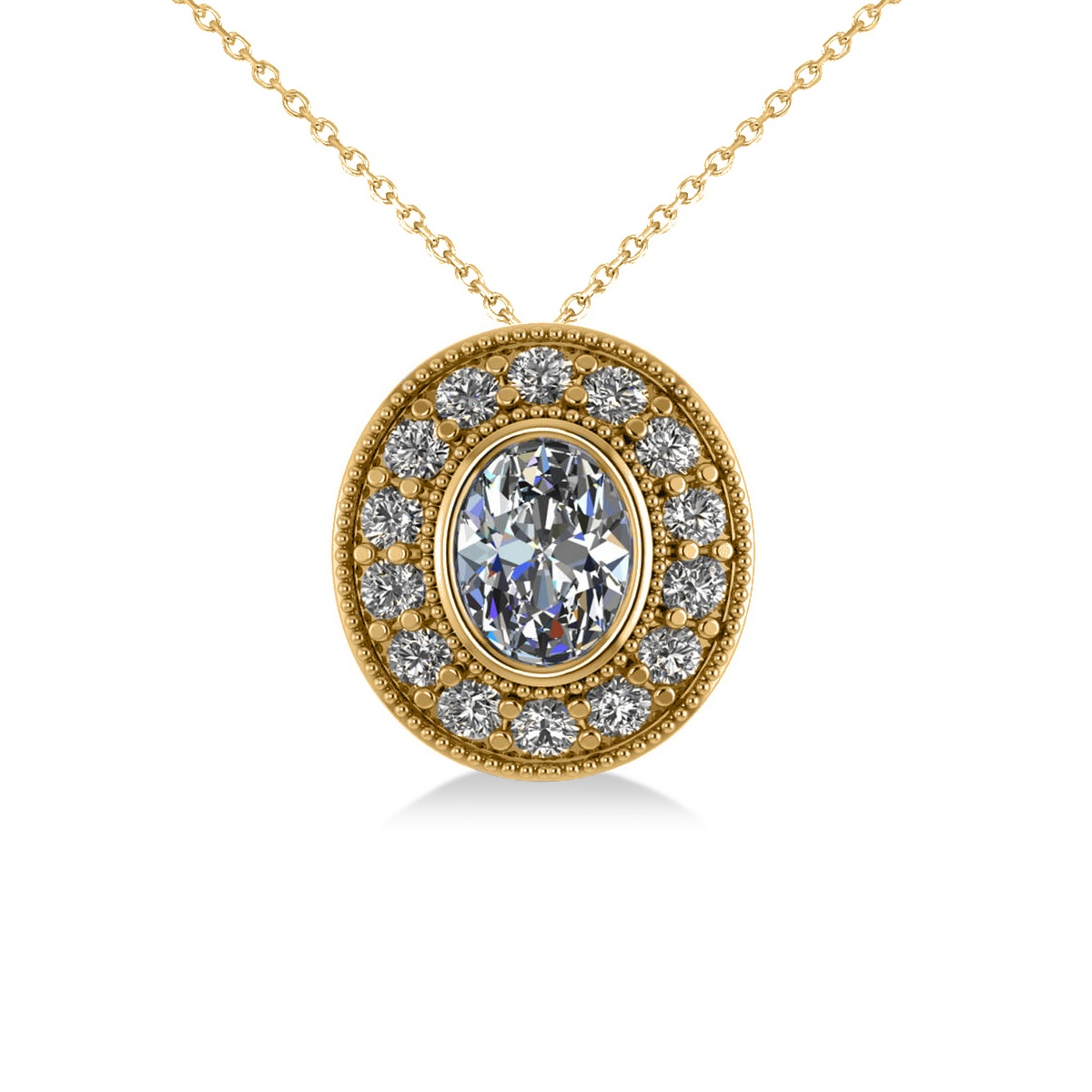 Diamond Halo Oval Pendant Necklace 14k Yellow Gold (1.18ct)