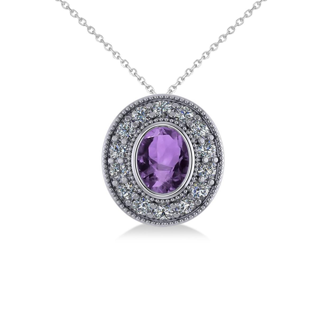 Amethyst & Diamond Halo Oval Pendant Necklace 14k White Gold (1.27ct)