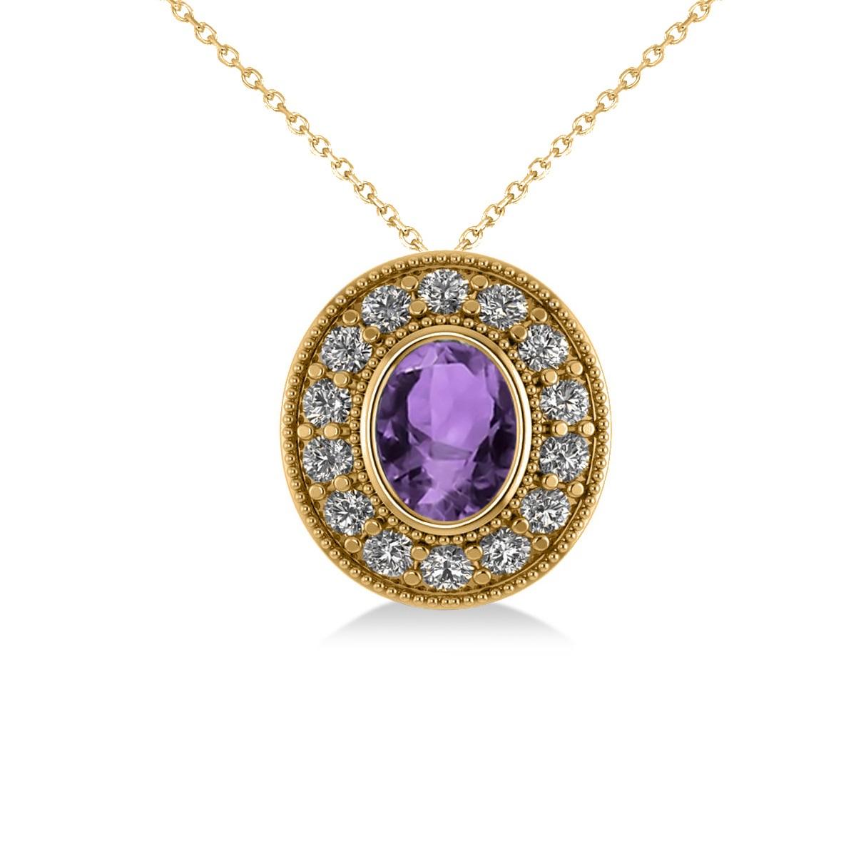 Amethyst & Diamond Halo Oval Pendant Necklace 14k Yellow Gold (1.27ct)
