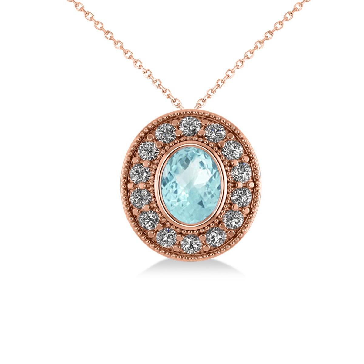 Aquamarine & Diamond Halo Oval Pendant Necklace 14k Rose Gold (1.17ct)
