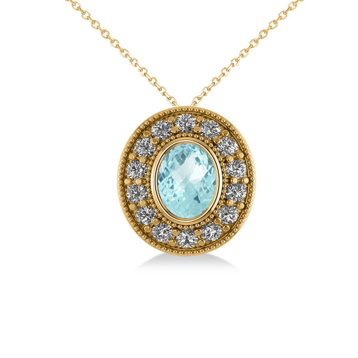 Aquamarine & Diamond Halo Oval Pendant Necklace 14k Yellow Gold (1.17ct)