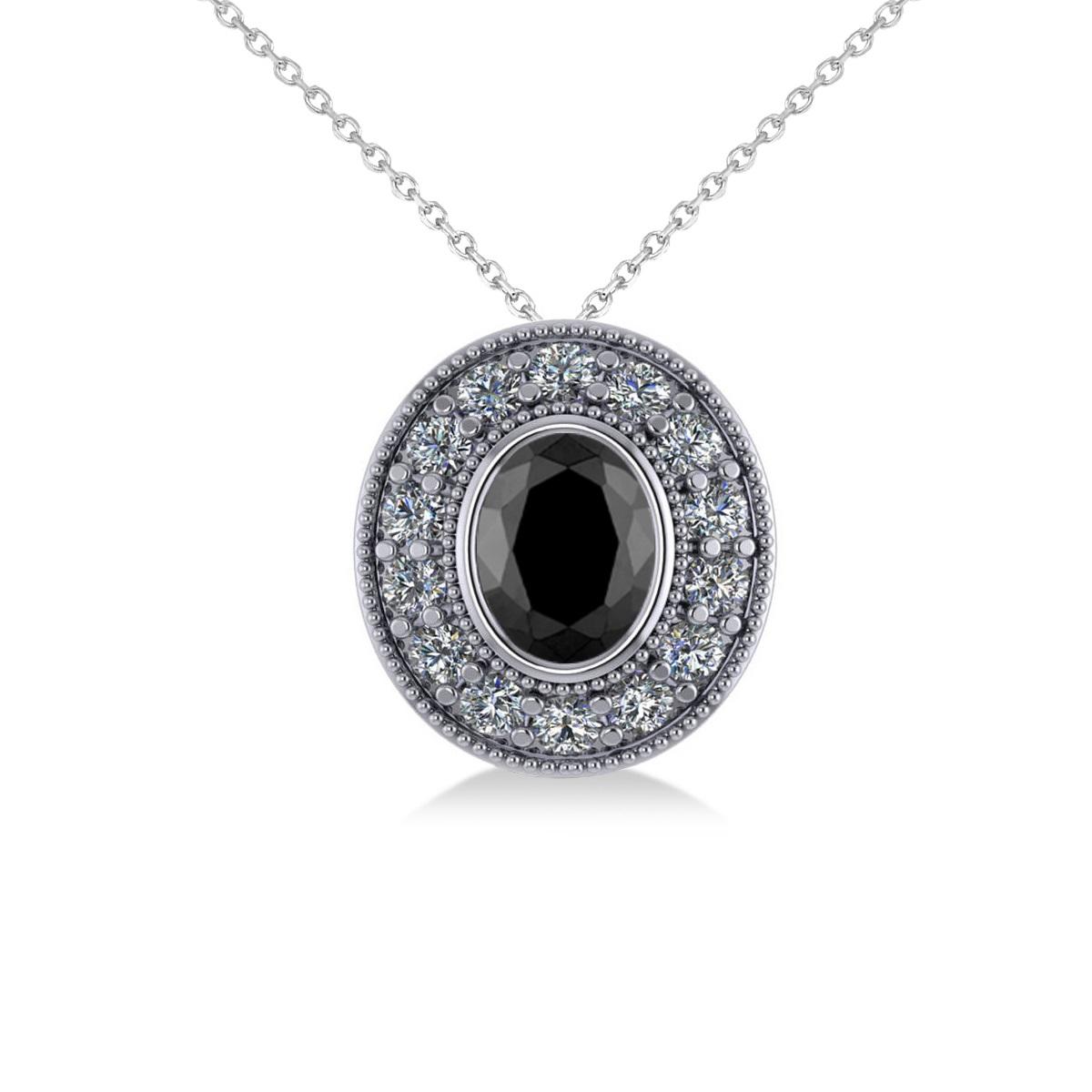 Black Diamond & Diamond Halo Oval Pendant Necklace 14k White Gold (1.18ct)