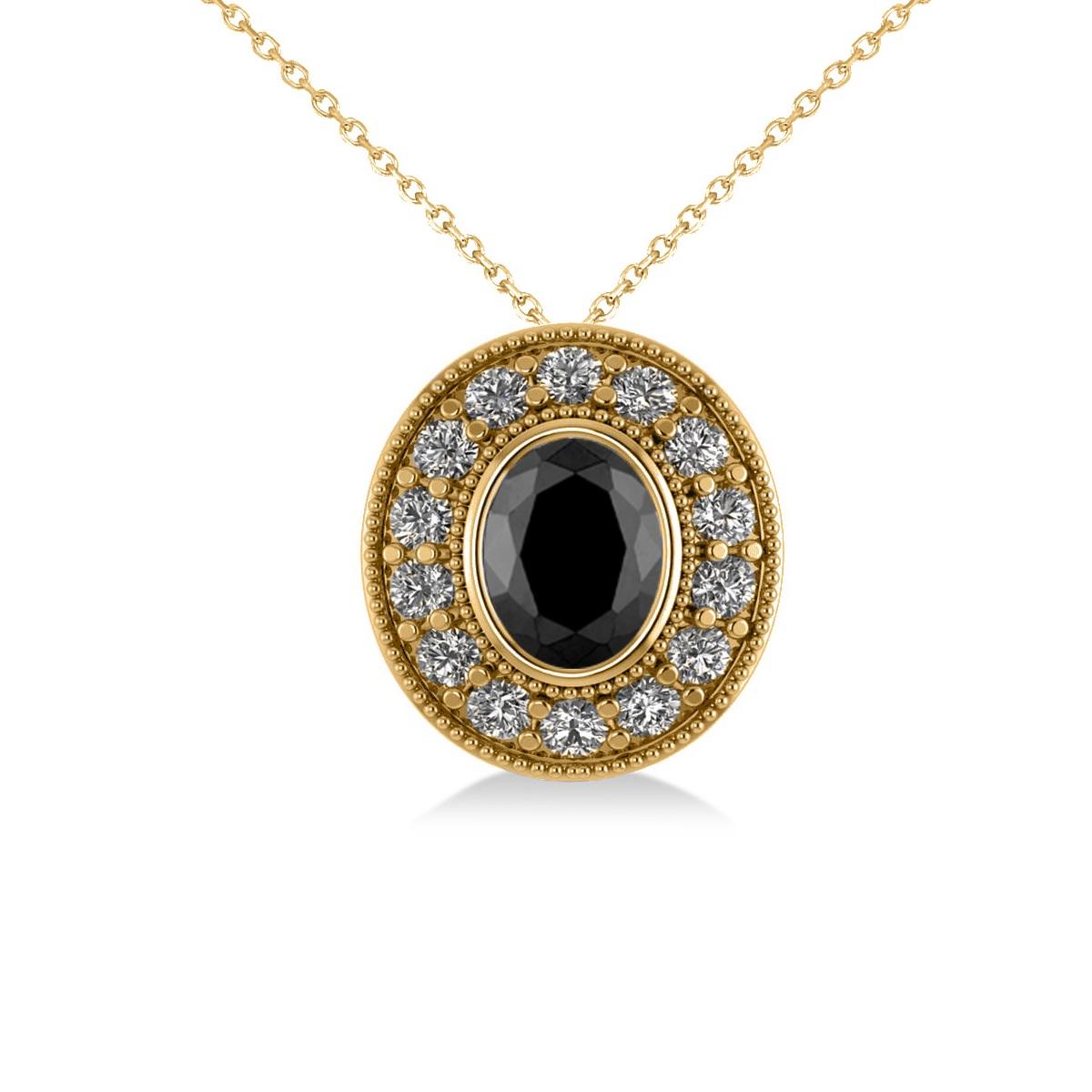 Black Diamond & Diamond Halo Oval Pendant Necklace 14k Yellow Gold (1.18ct)