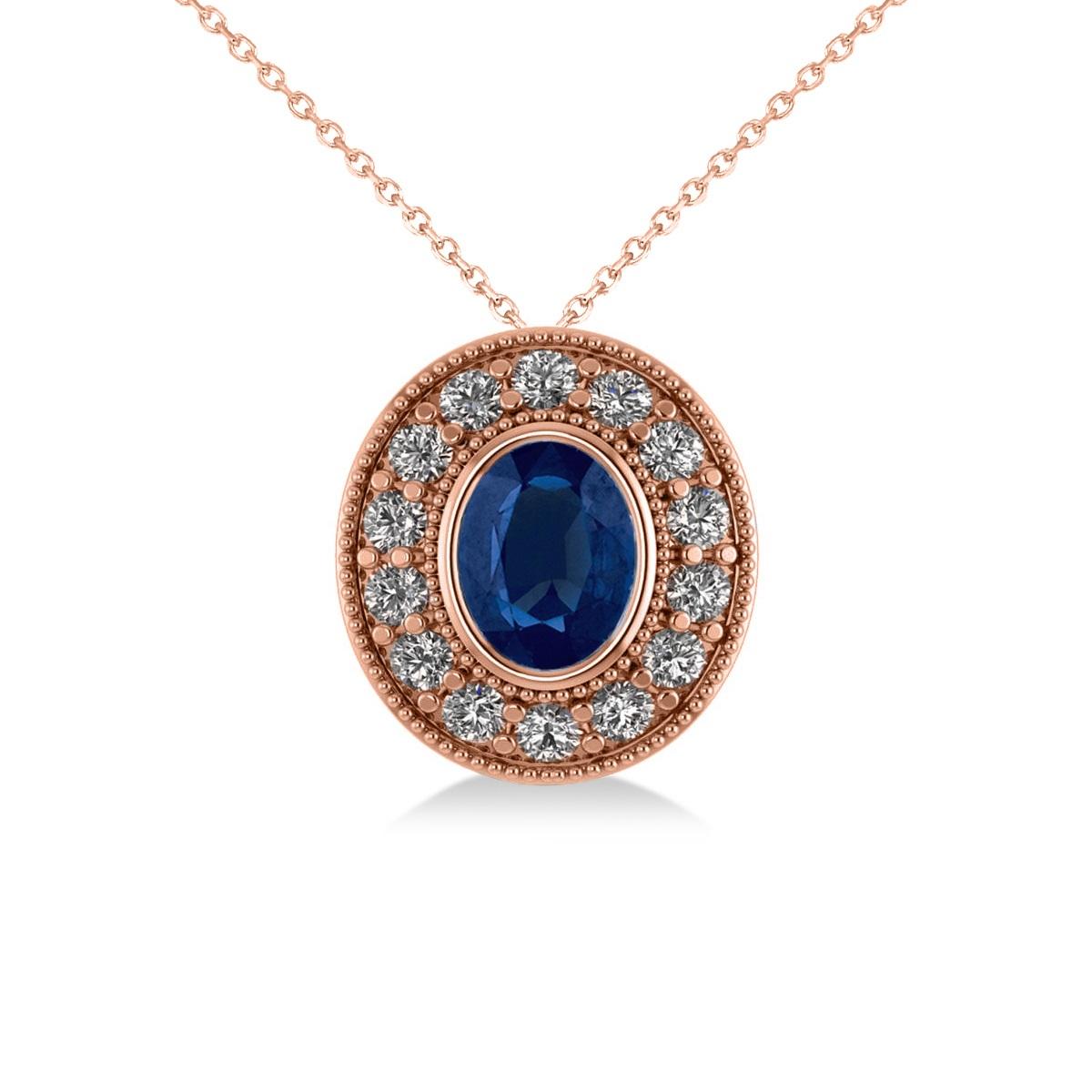 Blue Sapphire & Diamond Halo Oval Pendant Necklace 14k Rose Gold (1.42ct)