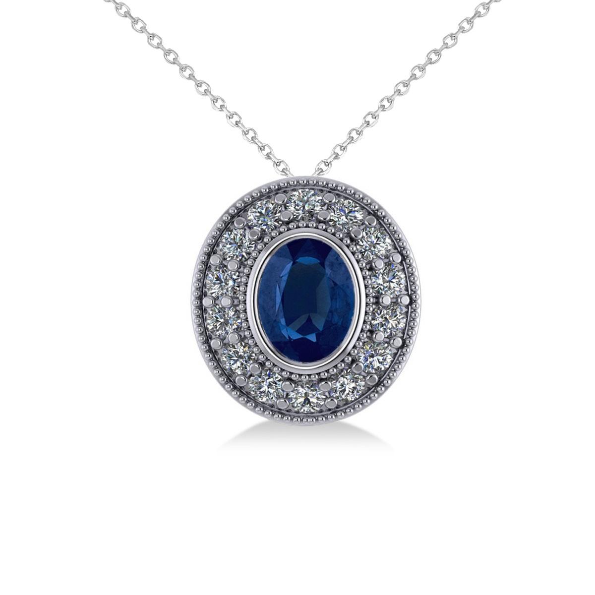 Blue Sapphire & Diamond Halo Oval Pendant Necklace 14k ...