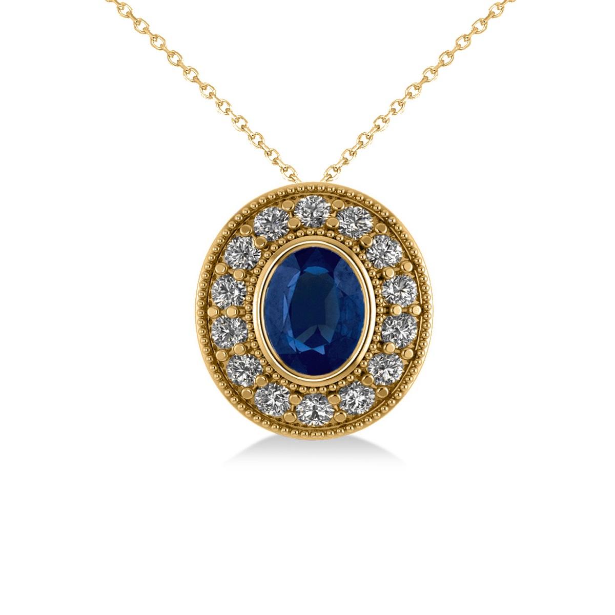 Blue Sapphire & Diamond Halo Oval Pendant Necklace 14k Yellow Gold (1.42ct)
