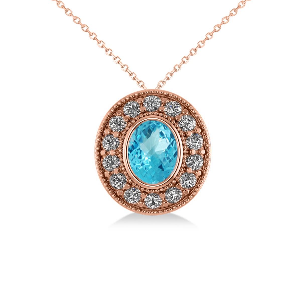 Blue Topaz & Diamond Halo Oval Pendant Necklace 14k Rose Gold (1.52ct)