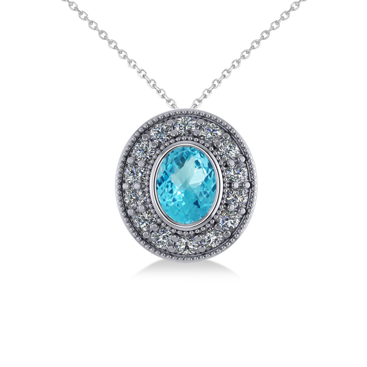 Blue Topaz & Diamond Halo Oval Pendant Necklace 14k White Gold (1.52ct)