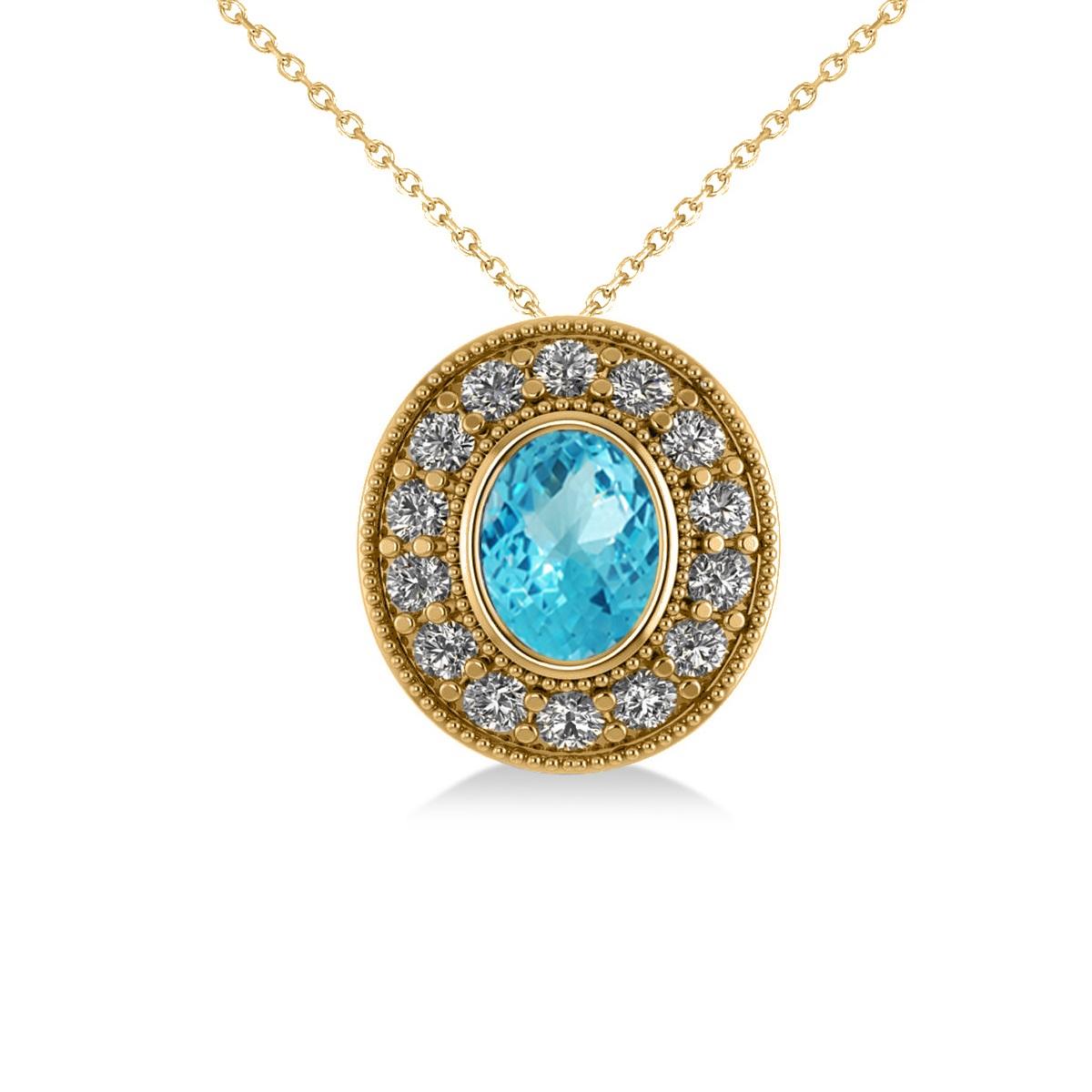 Blue Topaz & Diamond Halo Oval Pendant Necklace 14k Yellow Gold (1.52ct)