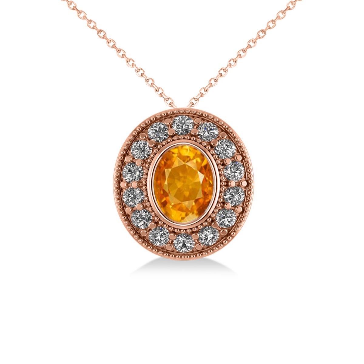 Citrine & Diamond Halo Oval Pendant Necklace 14k Rose Gold (1.27ct)