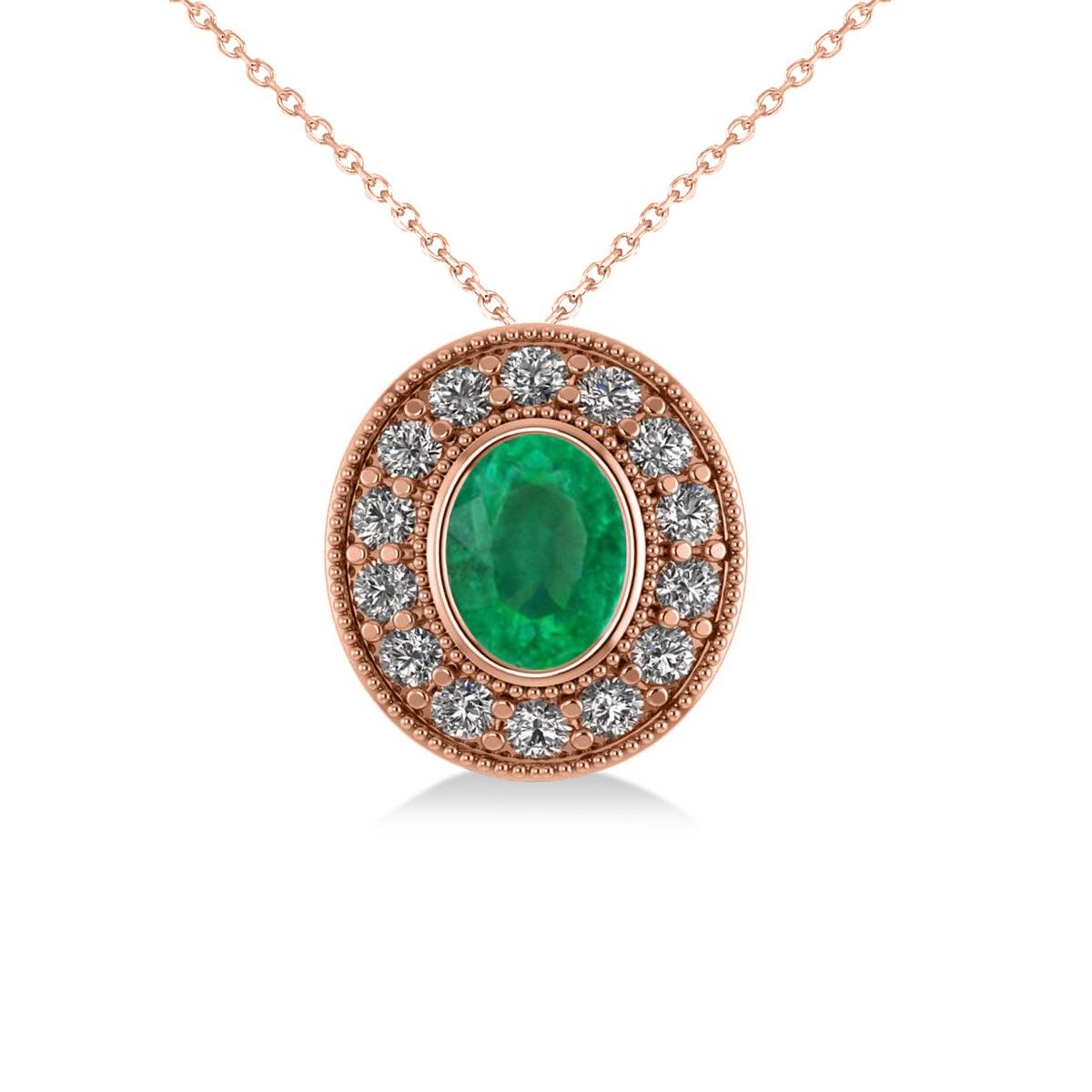 Emerald & Diamond Halo Oval Pendant Necklace 14k Rose Gold (1.27ct)