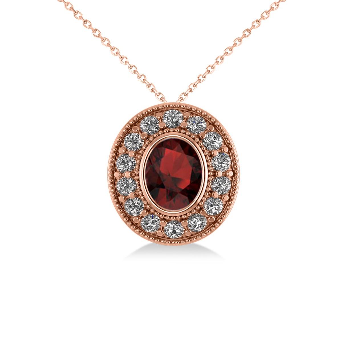 Garnet & Diamond Halo Oval Pendant Necklace 14k Rose Gold (1.42ct)