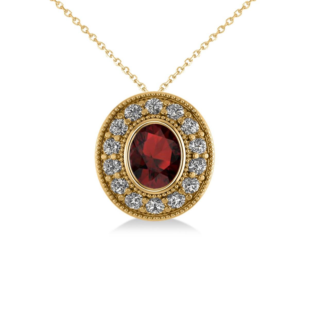 Garnet & Diamond Halo Oval Pendant Necklace 14k Yellow Gold (1.42ct)