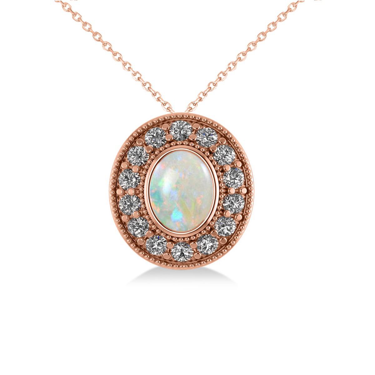 Opal & Diamond Halo Oval Pendant Necklace 14k Rose Gold (0.89ct)