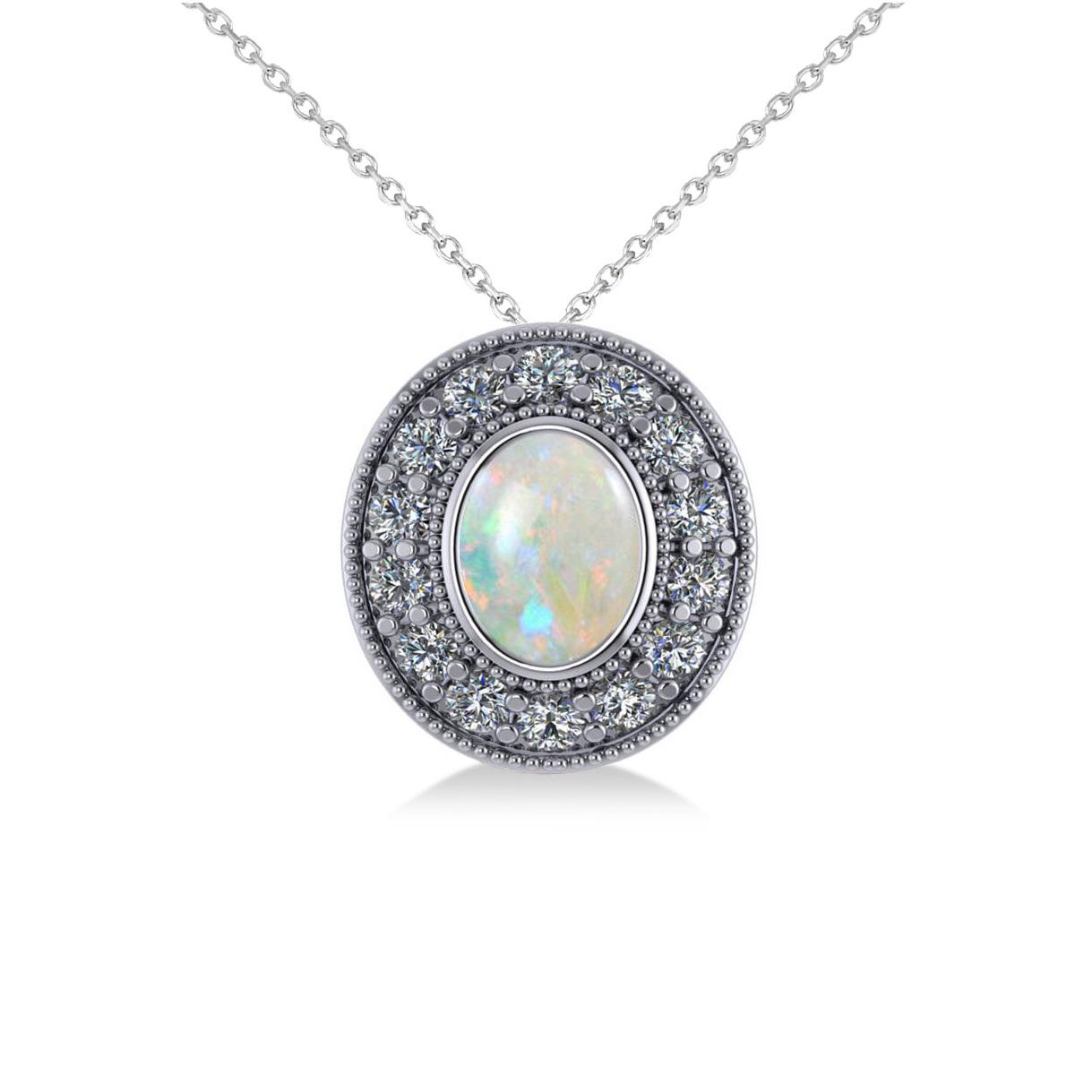 Opal & Diamond Halo Oval Pendant Necklace 14k White Gold (0.89ct)