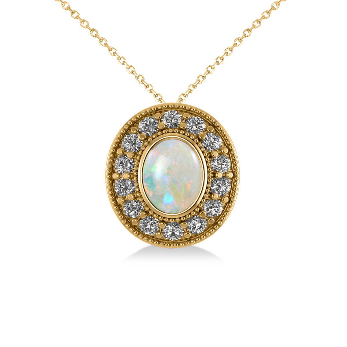 Opal & Diamond Halo Oval Pendant Necklace 14k Yellow Gold (0.89ct)