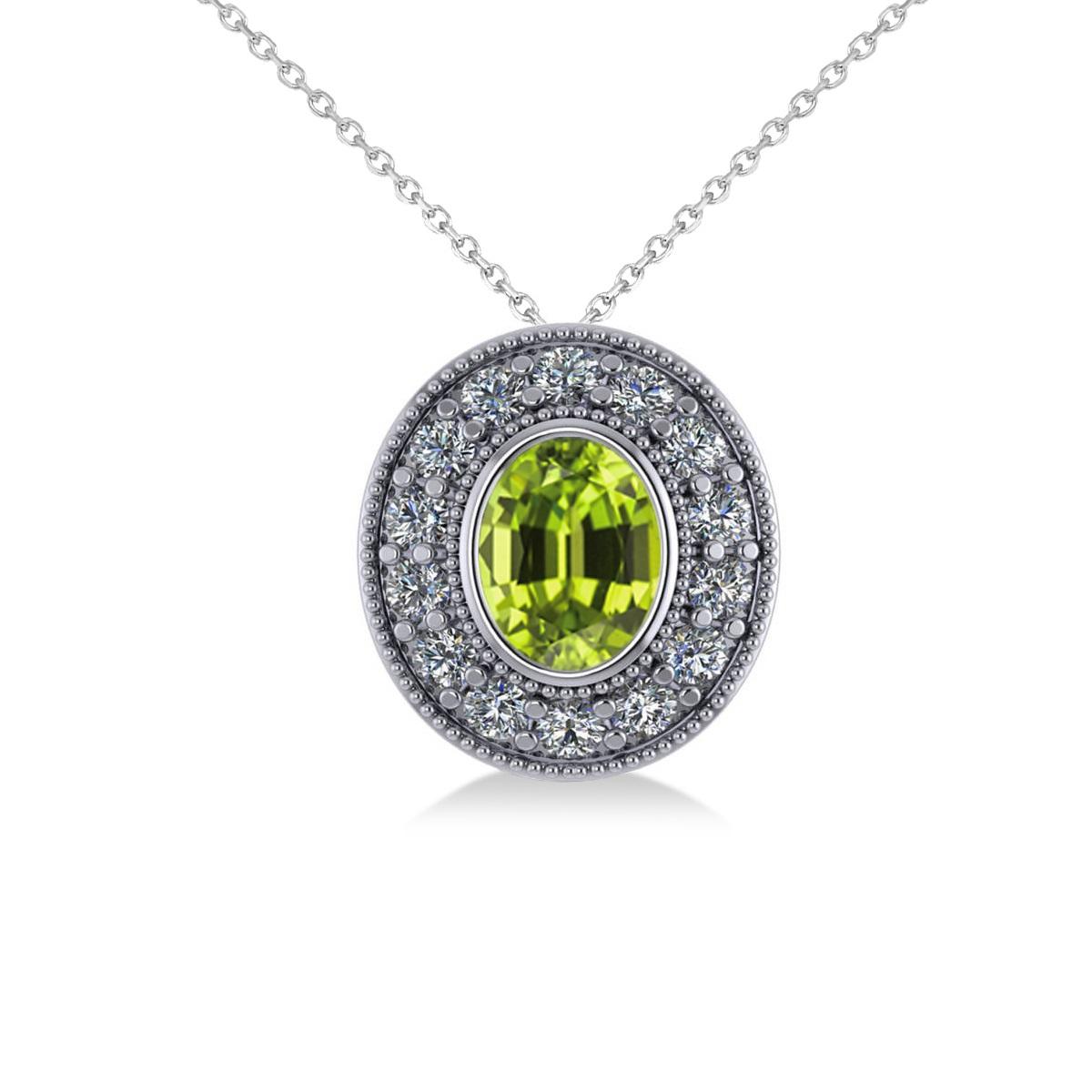 Peridot & Diamond Halo Oval Pendant Necklace 14k White Gold (1.37ct)